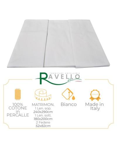 Completo Lenzuola Puro Cotone in Percalle Ravello Home