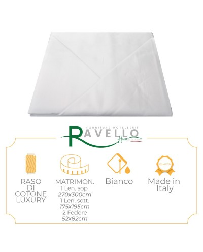 Completo Lenzuola in Raso Di Cotone Luxury Ravello Home