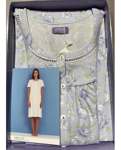 Camicia da notte calibrata manica lunga in cotone 100% Linclalor