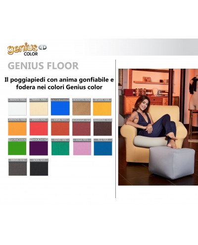 "Genius 4D - Inflatable footrest Puff Floor (pillowcase and core) - Colors ""Color"""
